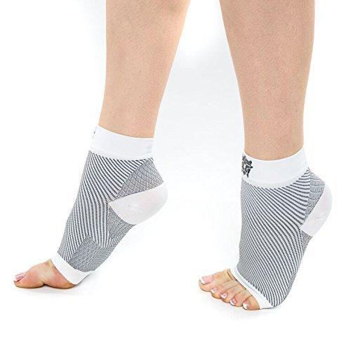 Bitly Plantar Fasciitis Socken (1-Paar), Premium Knöchelunterstützung, Weiß, Medium (Comfort Socken Low)