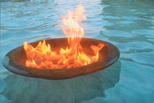 Teichschale - Schwimm-Schale aus Metall mit Edelrost- D=40 cm- in Edelrost für den Teich - als Pflanzschale -Feuerschale - mit 1 Dose Brenngel, sehr stabile Ausführung