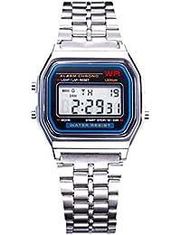 Reloj de acero inoxidable, pantalla digital LCD, cuadrado