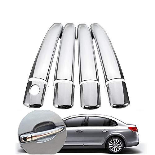 Garniture de cache de poignée de porte de voiture chrome pour C4 C6 207 308 407 de 2006 à 2010