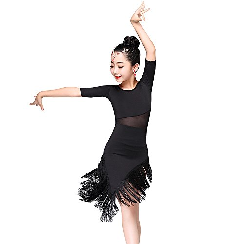 BOZEVON Kinder Mädchen Tanz Kleidung Quaste Saum Latein Tanzkleid Übung Performances Wettbewerb Kostüm, Schwarz/130
