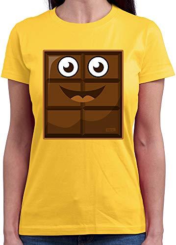 HARIZ  Damen T-Shirt Rundhals Milch Und Schokolade Junge Partner Kostüm Karneval Kostüm Plus Geschenkkarte Gold Gelb M