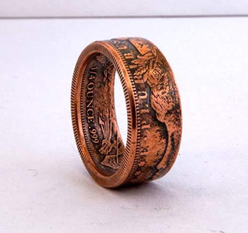 Morgan Dollar Kupfer Replik Münze Ring, handgemachte Siegel, Schmuck, Promise Ringe, Verlobungsring