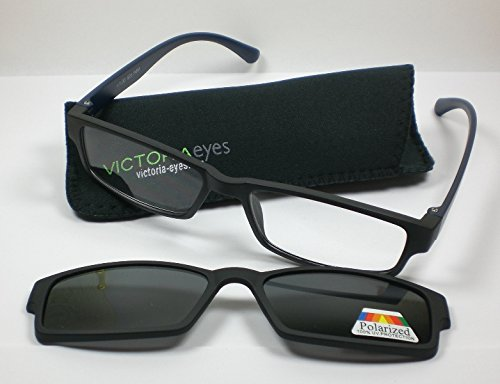Lesebrille mit getöntem Magnet Clip-on +2,5 schwarz Lesehilfe/Sonnebrille unisex