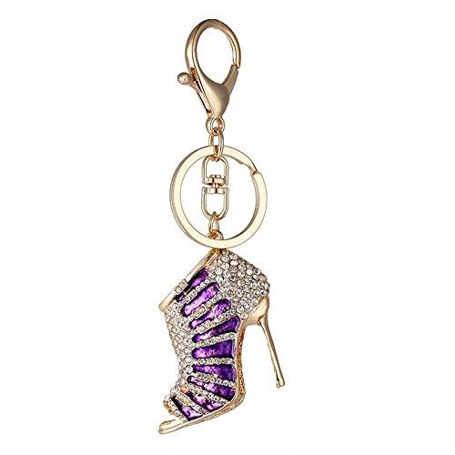 emorias 1High Heel Design Key kette Metall Strass Schlüssel Ring für Hand Tasche Auto Tür Schlüssel