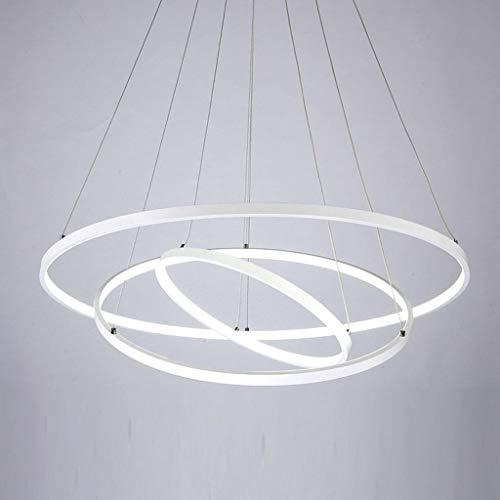 ASDF 72W LED Pendelleuchte Esstisch Modern DREI Ring Design Lampe Innen Beleuchtung Hängelampe Acryl Kreative Leuchte Dekoration Kronleuchter für Wohnzimmer Esszimmer Dimmbar Stufenlos Lüster, Weiß -