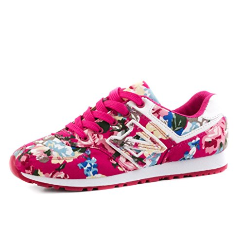 Marimo Trendige Damen Schnür Sneaker Freizeit Schuhe mit Blumenmuster Pink 36