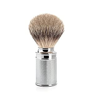 Mhle Classic Shaving Brush, Silver Tip Badger Hair, Handle Engraved Chrome by MHLE