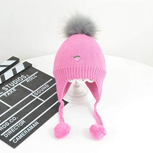 mlpnko Fruchtstickerei Strickmütze großer Haarball warme Wollmütze Gehörschutz Winddicht Mütze Hut rosarot verstellbar
