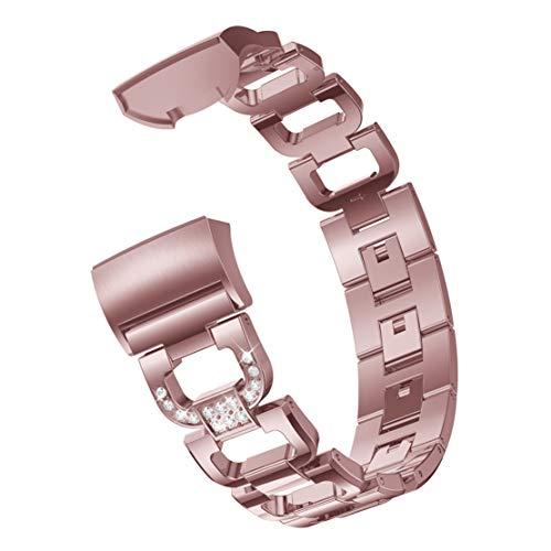happy event D Wort Armbänder aus Metall Verstellbare Riemen Crystal Ersatz für Fitbit Charge 3 (Rosa) (Schuhe Crystal-nike)