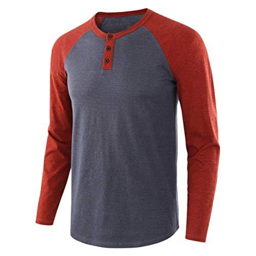 LSAltd Männer Mode Farbe Patchwork Langarm Slim Fit Pullover Tops Beiläufige Kurze Taste Rundkragen Bluse Shirt - Ein Rabatt Herren Duft