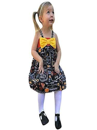 Baby Kinder Mädchen Ärmellos Kürbis Drucken Kleid mit Bowknot Prinzessin Kostüm Kinder Glanz Kleid Halloween Verkleidung Karneval Party Halloween Fest von Innerternet