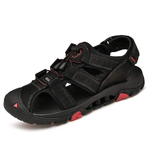 Zxf scarpe estive da uomo outdoor timberland sports sandali traforati back heel velcro close toes sandals (color : nero, dimensione : 43 eu)