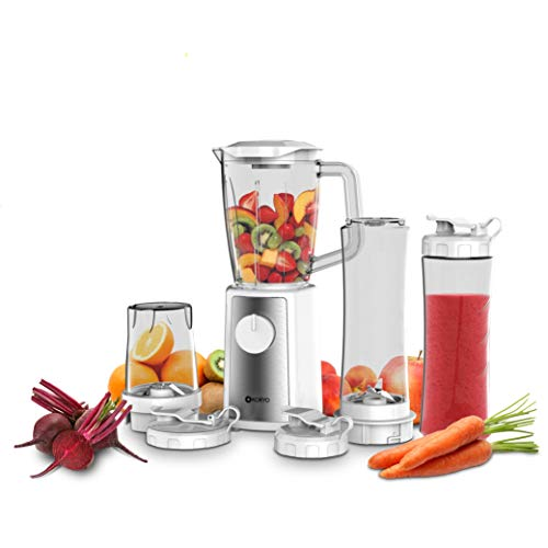 Koryo Personal Blender KPB442BT with 4 Jars and Stainless Steel Blade for Smoothies, Milk Shakes (White)