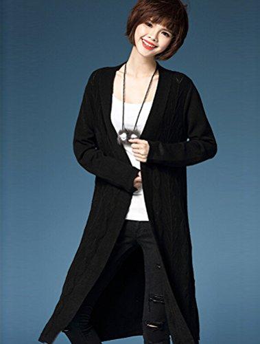 MatchLife Femmes Manches Longues Chandails Manteau Style2-Noir