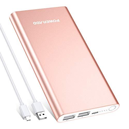 POWERADD Pilot 2GS Externer Akku 10000mAh, Powerbank mit 2 Output 5V/3,1A, Schnellladen Power Bank mit Alugehäuse Handy Ladegerät für iPhone, Samsung Galaxy, Huawei, iPad