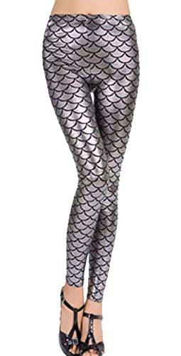 Islander Fashions Damen Metallic Mermaid Legging Damen Fischschuppen Print Stretchy Leggings Hosen Silber M / L EU 40-42