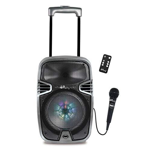 Lexibook iparty - Altavoz Luminoso Bluetooth con asa y Ruedas, micrófono, Puertos...