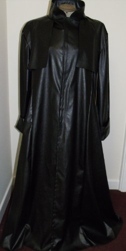NEW! LGE Black faux leather Duster Coat Matrix/Neo/Morpheus Style Costume/Overcoat (Für Erwachsene Morpheus Kostüm)