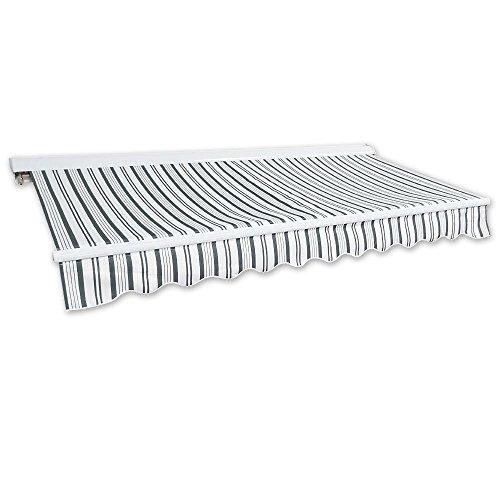 Kassetten-Markise 5 x 3 m grau-weiß (Profilfarbe: Weiß) Sonnenschutz Alu Markise Schattenspender Sonnensegel Hülsenmarkise Gelenkarm-Markise (Kassetten-markise)