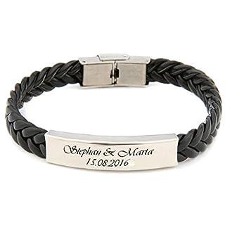 aplusashop ID Leder Armband mit Edelstahlplatte + Gravur nach Wunsch Schwarz/Braun 21,5 cm (Schwarz)