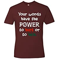 SuperPraise Mens Words Have The Power Christian T Shirt Maroon
