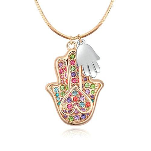 Rosig Vergoldet Anhänger Halsketten For Damen Pullover Halskette CZ Rechten Hand Gottes Bunten 85CM