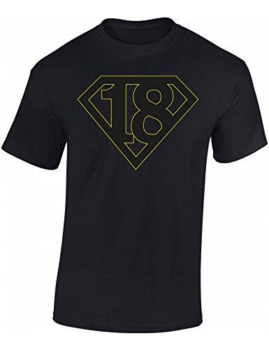 Geburtstags Shirt: Super 18 - Achtzehn-TER Geburtstag T-Shirt - Geschenk zum 18. - Frau-en - Mann Männer - Damen & Herren - Lustig - Birthday - Jahrgang 2001 - Jahre (S) -
