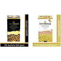 Greenbrrew Healthy Natural Strong unroasted Green Coffee - CARTE BLANCHE & Lemon Instant Coffee each pack 60g (20 Sachets per Pack) - Pack of 2