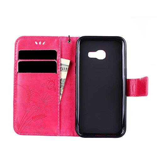 Horizontale Bookstyle Flip Case Premium PU Ledertasche, Solid Color Embossed Blumen Schutzbrieftasche Case Cover mit Lanyard & Stand für Samsung Galaxy A3 (2017) ( Color : Rose gold ) Red