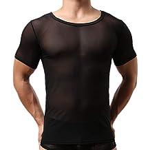 Morbuy Sexy T-Shirt Herren Unterwäsche Netzhemd Transparent Pyjamas Slim  Fit Rundhalsausschnitt Kurze Ärmel 8bdd911fd7