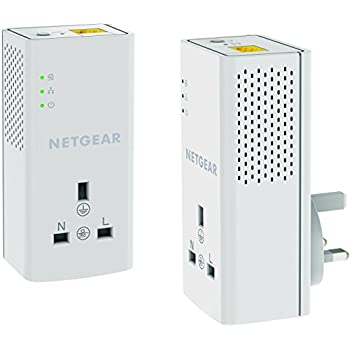 NETGEAR PLP1200-100UKS 1200 Mbps Powerline Ethernet Adapter Homeplug, Pass Through/Extra Outlet (1 Gigabit Ethernet Port) – Twin Pack