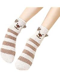 Amphia Mujer NiñAs Calcetines, 3D Calcetines De Animales Invierno CáLido Mullido Cama Dormir Calcetines De Navidad