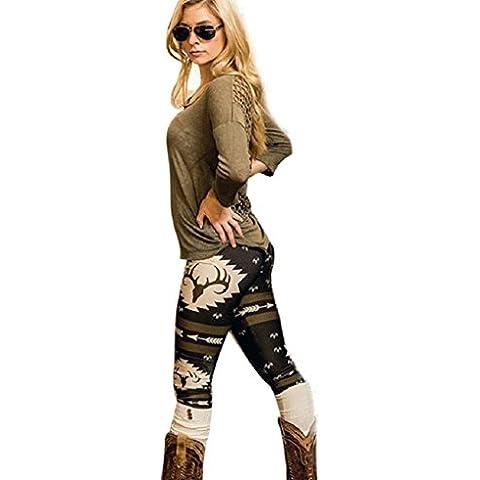 Tongshi Moda Mujer Skinny Impreso Stretch Pantalones Leggings (Negro, L)