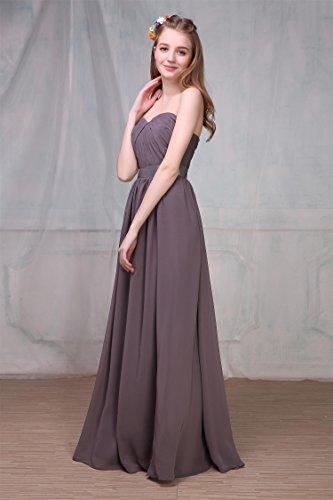 ... EnjoyBridal® Damen Herzform Abendkleid Party Fest Ballkleid Lang  Chiffon Brautjungfernkleid Grau ...
