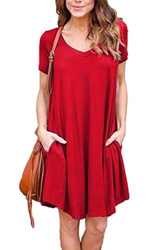 Le Maniche Corte / Collo In Tasca Una Mini Maglietta Vestito Red