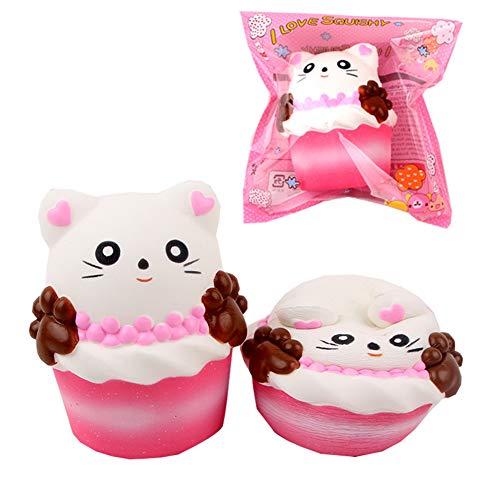 EDtara Happy Birthday,Anti-Stress Squeeze Spielzeug,Squishy Spielzeug, Kawaii Party Geschenke für Kinder, Squishy langsame Rückstoß-Rosa-Simulations-Katzen-Greifer-Kaffeetasse