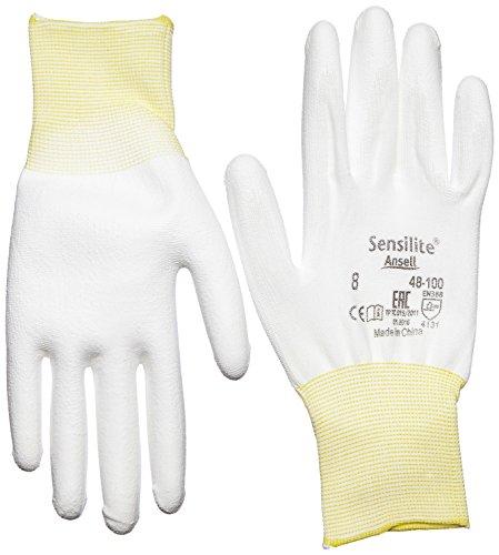 Ansell SensiLite 48-100 Mehrzweckhandschuhe, Mechanikschutz, Weiß, Größe 8 (12 Paar pro Beutel)