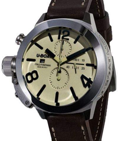 u-boat classico orologio automatico, tungsteno, beige, 50mm, cronografo, 7433/a