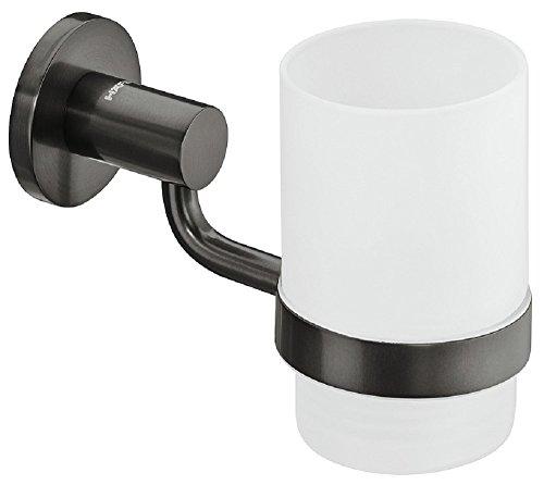 Gedotec Zahbürsten-Halterung rund Becherhalterung für Badezimmer Glas-Halter Messing | H3271 | 145...