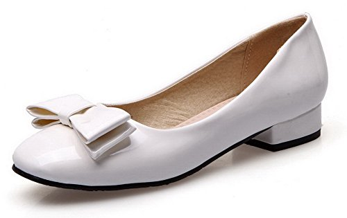 VogueZone009 Damen Ziehen Auf Rund Zehe Niedriger Absatz Pu Leder Rein Pumps Schuhe Weiß