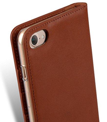Apple Iphone 7 Plus Melkco Premium Cowhide Leather Herman Series Book Style Case mit Premium Leder Handcrafted Guter Schutz, Premium-Gefühl-Schwarz Orange Braun