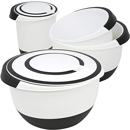 COM-FOUR® 4 Rührschüsseln in verschiedenen Größen, rutschfest mit Gummiboden, Ausgießer und Griff (4-teilig - Set3) (Grosse Kunststoff Salat Schüssel)