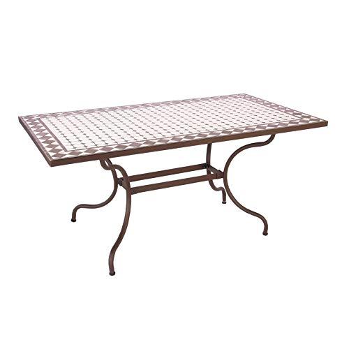 ARREDinITALY Table d'extérieur 160 x 90 cm avec Plateau mosaïque en céramique