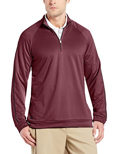 adidas Golf Herren 3-Streifen Piped 1/4 Zip Shirt, Herren, Amazon Red/Black, X-Large - Ashworth Herren Pullover