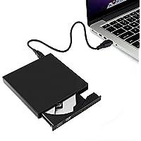 Lector DVD/CD Portátil - Grabador de CD-R/CD-RW y Reproductor DVD, Tumao Externa Portátil USB CD Quemador Drive, con Cable USB 2.0 y Cable Alimentación, para Windows/Mac OS, Negro
