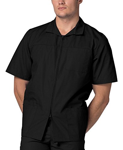(Adar Universal Men's Zippered Short Sleeve Jacket (Available in 7 colors) - 607 - Black - M)