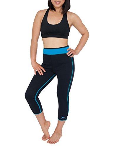 Delfin Spa Damen Heat Maximizing Neoprene Caprihose Black/Turquoise