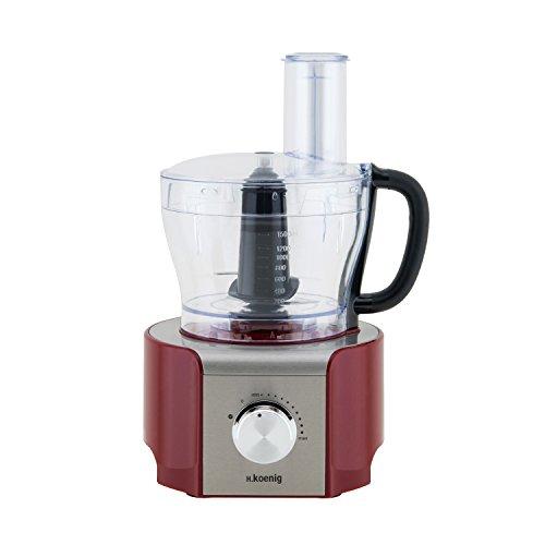 H.Koenig MX18 Red - Procesador de alimentos multifunción, 800 W, 1,5 l, color rojo