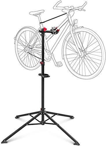 Relaxdays Fahrradmontageständer Reparaturständer mit Werkzeugablage - klappbar & höhenverstellbar - schwarzer Montageständer vierbeinig stabil mit festem Stand - Stahl pulverbeschichtet